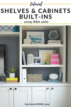 Mind blowing IKEA hack! You can save so much money if you know how to create your own built in using IKEA cabinets and shelves! Click through for how we did it. #ikeahack #diyproject #builtins #storage #organization #cabinets #familyroom #kidsorganization #mediastorage #diybuiltins #homeimprovement #coastaldesign #traditionaldecor #homedecor #moderndecor #shelves