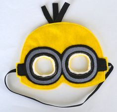 Minion inspired mask with bow masking etsy and felting for Minion mask template