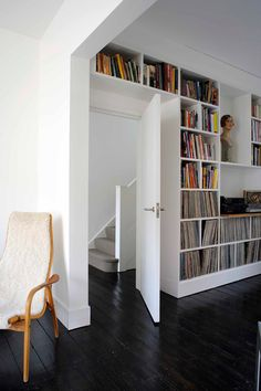 shelves around doorway (family room to master bedroom) House Design, House, Home, Record Room, House Interior, Home Renovation, Flat Interior, Minimalist Home, Home Library