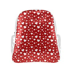 Hearts - Red Multi-Pockets Backpack (Model 1636)