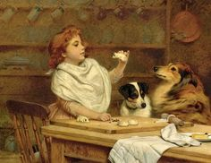 The Little Baker With Her Two Assistants ~ Charles Burton Barber ~ (British, 1845 – 1894)