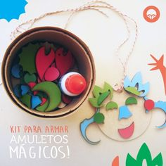 Kit para hacer Amuletos de Oh! Pacha Juguetes. Messages, Kit, Activities, Christmas Ornaments, Create, Holiday Decor, Toys, Bright Colours, Daddy And Son