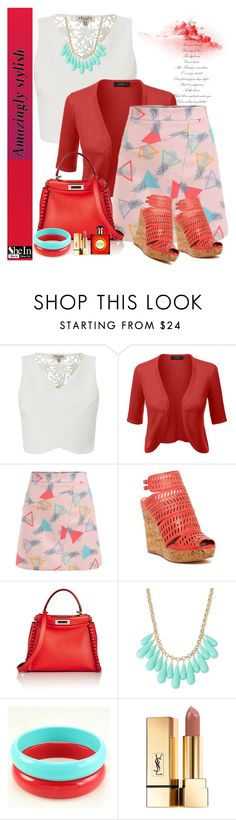 """SheIn A-line Skirt"" by manuela-cdl ❤ liked on Polyvore featuring Lipsy, Charles by Charles David, Fendi, INC International Concepts and Yves Saint Laurent"