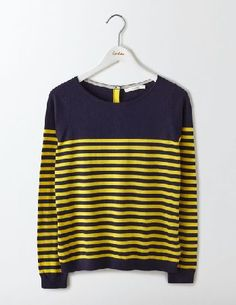 #Boden Tresco Stripe Jumper Navy/Mimosa Yellow Stripe #This versatile, stripy boat neck jumper is only buttoned-up if you want it to be (like when you wear it out to dinner). Unbutton the back a little for a relaxed look on sofa days, and reveal the contrast placket detail. Either way, soft cotton with cashmere keeps you snug all day.