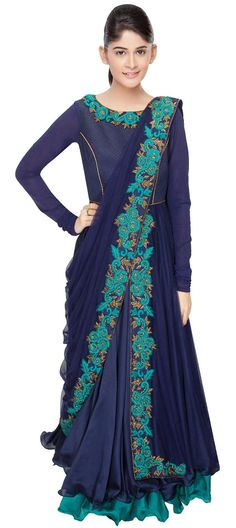 423407 Blue color family Party Wear Salwar Kameez in Silk fabric with Sequence, Stone, Bugle Beads work. Indian Attire, Indian Ethnic Wear, Kurta Designs Women, Blouse Designs, Pakistani Outfits, Indian Outfits, Salwar Kameez, Look Short, Anarkali Dress