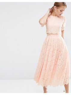 Asos Lace crop top midi prom