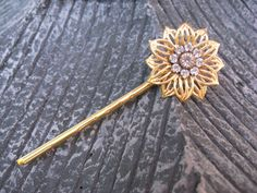 The Golden Camellia Bobby Pin by thepinkcamellia on Etsy