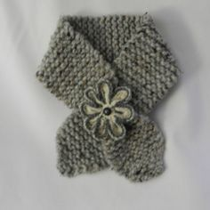 Scarf neck warmer for Women and teans knit wool blend gray with flower