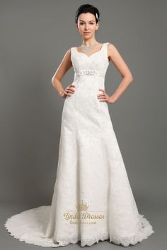 lindadress.com Offers High Quality Ivory V Neck Empire Waist Lace A Line Wedding Dresses With Beaded Belt,Priced At Only USD USD $198.00 (Free Shipping)