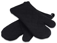 Our flagship black quilted cotton oven mitts - premium quality, with a thick terry cloth lining