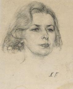 """Head of a woman"" by Nicolai Ivanovich Fechin"