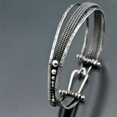 Woven Orbit Bracelet- Argentium Silver Bracelet, Black Garnet. $150.00, via Etsy.
