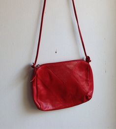 FREE SHIPPING!!  Vintage 80s Cherry Red Leather Small Cross Body Purse on Etsy, $13.00