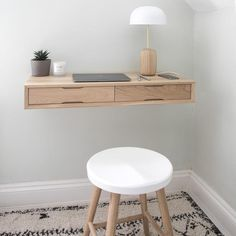 15 Fantastic Small Bedroom Desk Designs For Small Bedroom Fantastic Small Bedroom Desk Designs For Small Bedroom Of The Best Space-Saving Desks On EtsyFloating Oak Desk perfect for creating a small home office Plywood Desk, Minimal Desk, Space Saving Desk, Desks For Small Spaces, Small Room Desk, Small Bedroom Office, Small Space Office, Tiny Spaces, Wall Mounted Desk