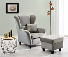 Cozy wing chair with stool- Gemütliche Ohrensessel mit Hocker The comfortable eye-catcher of your living room. Discover your new favorite place. Available in various trend colors and fabrics online. Ikea Living Room, Living Room Modern, Interior Design Living Room, Living Room Designs, Wood Bedroom, Bedroom Decor, Wing Chair, Design Furniture, Modern Chairs