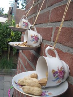 Bird feeder! Careful how you glue the cup to the plate- you don't want the seeds to fall off!
