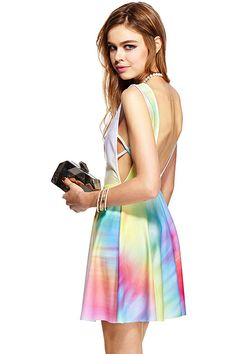 ROMWE | ROMWE Colorful Print Sleeveless Dress, The Latest Street Fashion #RomweBeyondTheColor