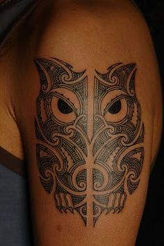 #Maori #tattoo #owl # black #arm #tribe