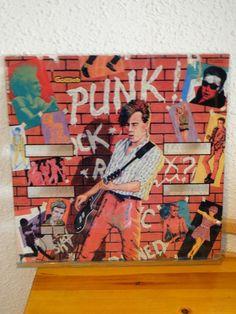 """ANCIENNE  PLAQUE VERRE / GLACE DE FLIPPER """" PUNK , ROCK """" 1982 GOTTLIEB  DECO"""