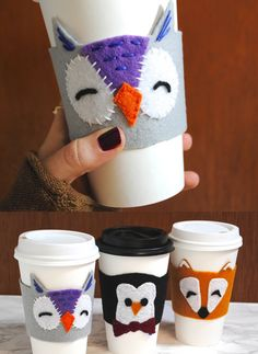 Owl coffee mug sleeve Handmade Valentine's Day Gift Idea