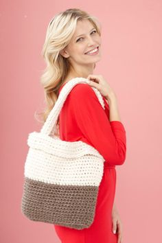 Crochet this Two Tone Bag in Wool-Ease Thick & Quick for a sturdy, glam carryall that will work up quickly!