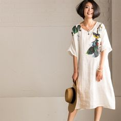 Summer White Art Loose Ink Printing Cotton Linen Dress Women Clothes Q1617A