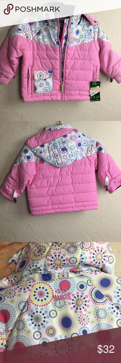 Girls Winter Jacket. Baby Girl Coat New size 3 Girls Jacket.  Has removable hood for easy access in car seat.  Cute colors and nice quality. Never used.  Wrong size for season. Marker Jackets & Coats Puffers