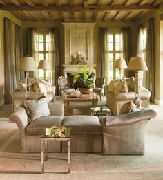 Elegant Living Room...Greige color scheme; beautiful decor.
