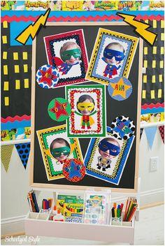Some cute ideas for a super hero theme...
