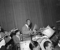 """The Great African-American Classical Art-Form     Billy Eckstine Orchestra performing with Art Blakey on drums in Hill City Auditorium (Savoy Ballroom), October 1944 Image Credit: Charles """"Teenie"""" Harris #HighArt     #Jazz"""