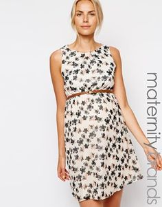 New Look Maternity Printed Belted Skater Dress