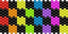 Rainbow Checks Pony Bead Patterns | Simple Kandi Patterns for Kandi Cuffs