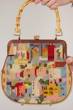 vintage needlepoint purse