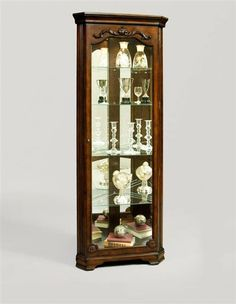 Madison Clic Brown Wood Gl Corner Curio Cabinets China Display