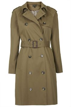 $150, Olive Trenchcoat: Topshop Cotton Trench Coat. Sold by Topshop. Click for more info: http://lookastic.com/women/shop_items/195442/redirect