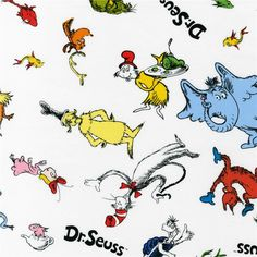Celebrate Seuss! Tossed Characters White from @fabricdotcom  Celebrate Seuss! By Dr. Seuss Enterprises for Robert Kaufman Fabrics, this licensed fabric features an allover design of characters from the Dr. Seuss books. The color palette includes primary colors of red, blue, yellow and orange on a white background. Use for quilting and craft projects as well as apparel and home decor accents.