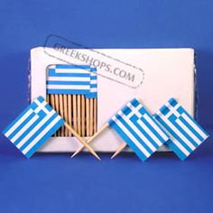 Greek Flag Party Toothpicks 100 pc. to stick in pre wrapped gyros and such