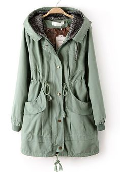 Light Green Zipper Drawstring Pockets Cotton Trench Coat