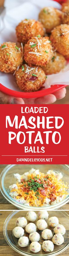 Loaded Mashed Potato Balls – What do you do with leftover mashed potatoes? You m… Loaded Mashed Potato Balls – What do you do with leftover mashed potatoes? You make melt-in-your-mouth, crisp yet creamy mashed potato balls of course! Potato Dishes, Potato Recipes, Vegetable Recipes, Appetizer Recipes, Dinner Recipes, Party Recipes, Fingers Food, Loaded Mashed Potatoes, Cheesy Potatoes