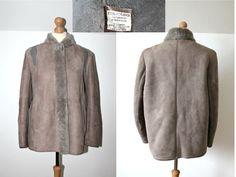 Vintage Sheepskin jacket Winter jacket Folk Suede by StylishAgain Winter Fur Coats, Winter Jackets, Shearling Jacket, Leather Jacket, Sheepskin Jacket, Suede Coat, Folk Fashion, Vintage Coat, Oversized Shirt