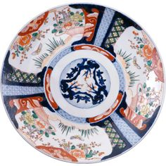 Very large Japanese colored Imari porcelain charger 19th century $425