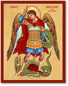 St Michael the Defender Icon, Icons of the Holy Angels: Monastery Icons Catholic Art, Catholic Saints, Religious Icons, Religious Art, St. Michael, Saint Michael, Monastery Icons, Byzantine Icons, Archangel Michael