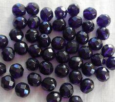 25 6mm Czech glass beads Deep Violet Purple by GloriousGlassBeads