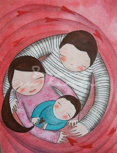 Illustrazioni | Sogni su Carta Love Illustration, Character Illustration, Acrylic Painting Canvas, Canvas Art, Mother And Child Painting, Children Sketch, Rock A Bye Baby, Family Drawing, Mother Art