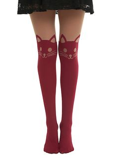 Cat Leggings Hot Topic | burgundy cat faux thigh high tights sku 10286332 $ 12 50 burgundy cat ...