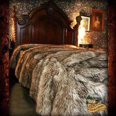 Gray Wolf Bedspread Plush Faux Fur Coyote Bear Skin Sheepskin Shag Throw Blanket #FURACCENTS #PlushAnimalFur