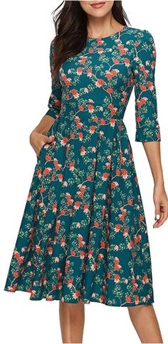 Women's Floral Vintage Dress Elegant Midi Evening Dress Sleeves, / X-Large Source by jwearsfashion dresses curvy Elegant Dresses Classy, Unique Dresses, Classy Dress, Beautiful Dresses, Day Dresses, Evening Dresses, Afternoon Dresses, Flapper Dresses, Long Dresses