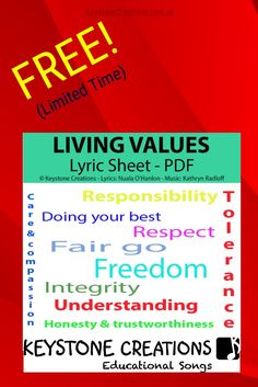 FREE (for a limited time)! 'LIVING VALUES' (Grades K-12) is a curriculum-aligned, anthem-style song that highlights nine core values (The Government's Nine Values for Australian Schooling)~ perfect for school assemblies! (NB: Vocal track not included in this giveaway): DOWNLOAD INCLUDES: *2 lyric sheet PDfs (International & Australia-specific chorus versions) to our curriculum-aligned, anthem-style song, 'Living Values' *BONUS 'Tips for Using Songs in Your Classroom' #Teacher #Curriculum Classroom Teacher, Elementary Teacher, Upper Elementary, Teacher Pay Teachers, Classroom Ideas, Teacher Resources, Teaching Ideas, Lyrics Website, Song Of Style