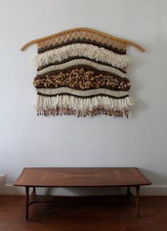 RESERVED: SALE Vintage Fiber Art Wall Hanging by mcdecorumemporium もっと見る