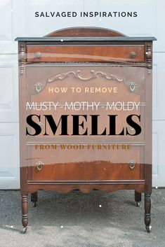 How To Remove Musty-Mothy-Moldy Smells From Wood Furniture - diy furniture Furniture Rehab, Furniture Projects, Furniture Makeover, Wood Furniture, Cool Furniture, Repurposed Furniture, Furniture Making, Paint Furniture, Vintage Furniture
